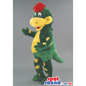 Yellow and green dragon mascot with red hair and short tail -
