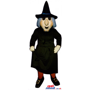Halloween Witch Mascot With A Black Long Gown And Grey Hair -