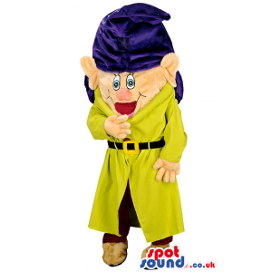 Dwarf mascot with large blue hat and yellow coat and red