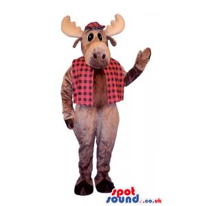 Brown Reindeer Plush Mascot Wearing A Checked Vest - Custom