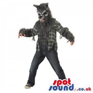 Scary Werewolf Halloween Adult Costume With A Ripped Shirt -