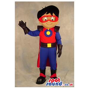Superhero Boy Plush Mascot Wearing Blue And Red Garments -