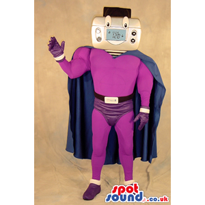 Superhero Thermostat Face Plush Mascot Wearing Purple Garments