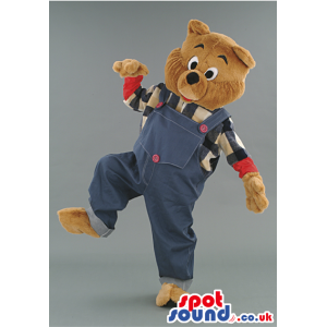Bear mascot with blue jeans overall and squared T-shirt -