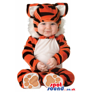 Very Cute Orange And White Tiger Baby Size Costume - Custom
