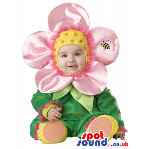 Very Cute Pink Flower Baby Size Costume With A Bee - Custom