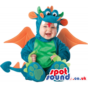 Cute Blue And Green Dragon Baby Size Costume With Orange Wings