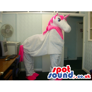 White And Pink Unicorn Fantasy Mascot On All-Fours - Custom