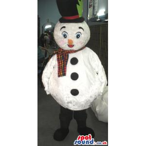 Snow man mascot with a yellow nose and a check muffler - Custom
