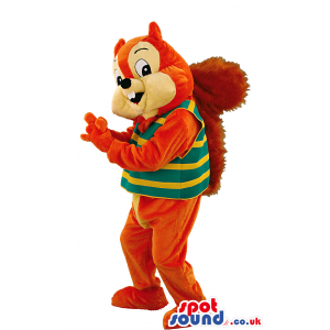 Brown smiling squirrel mascot with striped shirt and fluffy