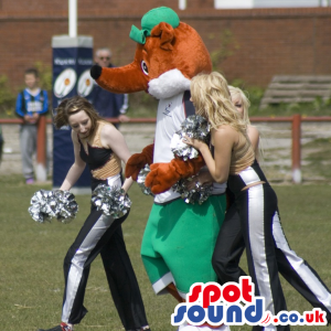 Fox mascot with long pointy nose wearing green and white