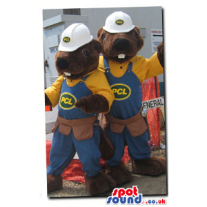 Two Chipmunk Plush Mascots Wearing Overalls And Helmets -