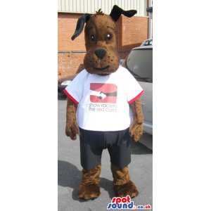 Cute Brown Dog Plush Mascot Wearing A White T-Shirt With Logo -