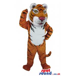 Tiger mascot with black stripes, pink nose and long tail -