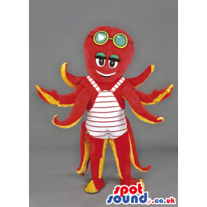 Red octobus mascot in white and red stripe swimming suit -