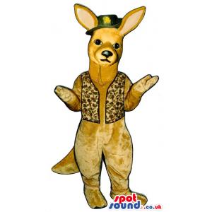 Beige Kangaroo Plush Mascot Wearing A Green Hat And A Vest -