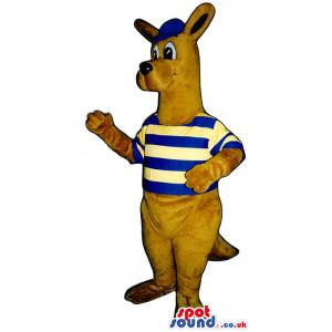 Brown Kangaroo Plush Mascot Wearing A Striped Shirt And A Cap -