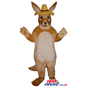 Beige Kangaroo Plush Mascot With A White Belly Wearing A Hat -