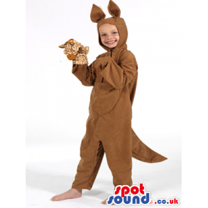 Cute Brown Kangaroo Children Size Plush Costume With A Puppet -