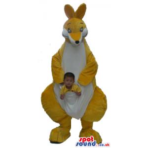 Yellow And White Kangaroo Plush Mascot With A Pocket - Custom