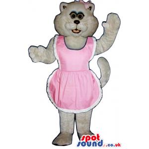 All White Girl Cat Plush Mascot Wearing A Pink Apron - Custom