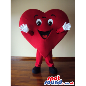 Fired up heart mascot with white gloves and black shoes -
