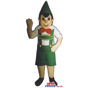 Popular Tale Pinocchio Mascot With Green And Red Garments -