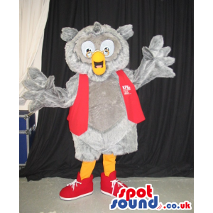 Cute Grey Owl Plush Mascot Wearing A Red Vest With A Logo -