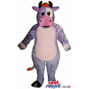 Fantasy Purple And Pink Cow Mascot With A White Belly - Custom