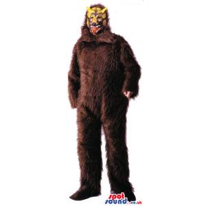 Strong And Big Dark Brown Wolf Or Yeti Plush Mascot - Custom