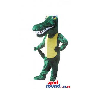Green And Yellow Crocodile Plush Mascot With Sharp Teeth -