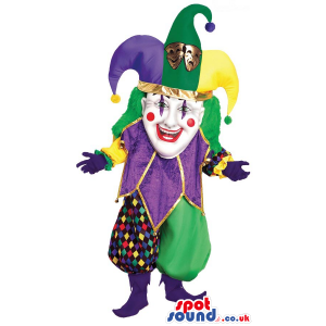 Funny Colorful Clown Or Pierrot Circus Character Mascot -