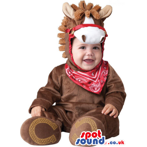 Brown And White Cowboy Horse Baby Size Plush Costume - Custom