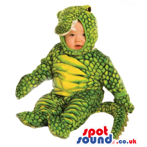 Green And Yellow Cute Alligator Baby Size Plush Costume. -