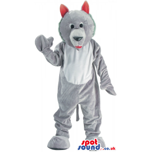 Customizable Cute Grey Wolf Plush Mascot With Red Ears - Custom
