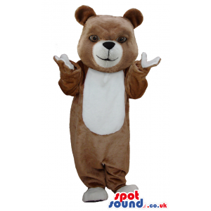Brown soft bear mascot with white snout, paws and undebelly -