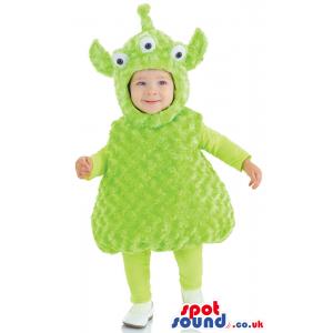 Cute Flashy Three-Eyed Green Alien Baby Size Plush Costume -