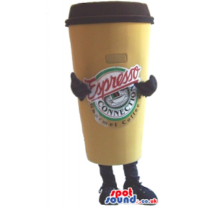 Big Coffee Cup Plush Mascot With A Logo And No Face - Custom