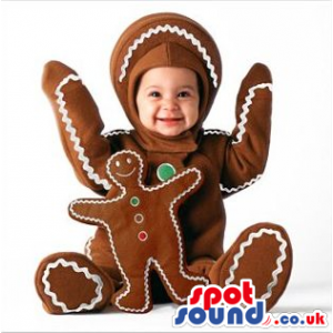 Cool Ginger-Bread Man Baby Size Costume Or Mascot With Toy -