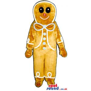 Big Ginger-Bread Man Plush Mascot With A Blue Ribbon. - Custom