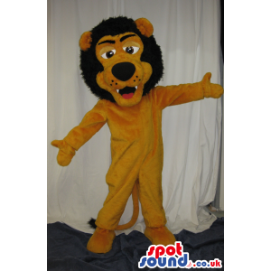 Big Lion Plush Mascot With Big Brown Hair And Funny Face -