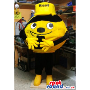Cute Round Bee Plush Mascot Wearing A Yellow Cap With Text. -
