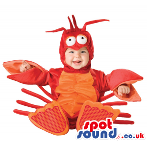 Funny Red And Orange Lobster Baby Size Plush Costume - Custom