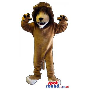 Customizable Brown Furious Lion Plush Mascot With Brown Hair -