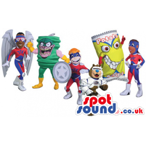 Wide Range Of Six Different Kinds Of Mascots In Varied Colors -
