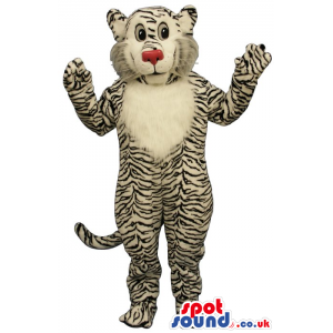 Tiger Plush Mascot With A Red Nose And White Belly - Custom