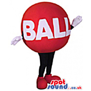 Cool Red Ball Plush Mascot With Space For Text And No Face -