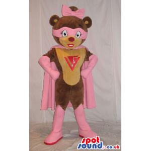 Cute Superhero Teddy Bear Girl Plush Mascot With A Logo -