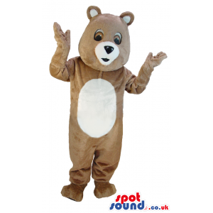 Surprised lookin beige teddy bear mascot with white underbelly