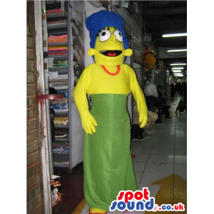 Marge The Simpsons Character Plush Mascot Wearing A Green Dress